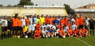 I biancorossi Marco ed Andrea Brighi nella partita con San Patrignano