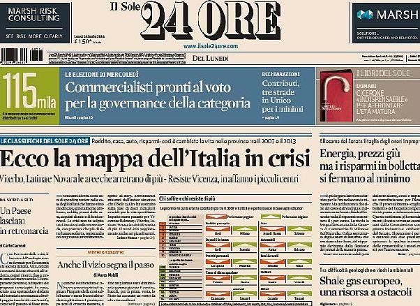 Sul Sole24Ore la mappa della crisi: Rimini tra le province più in sofferenza