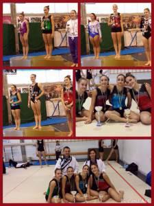 Chiara, Elena, Aurora e Alice. In basso con gli allenatori Manuele Amenta e Michela Carlini