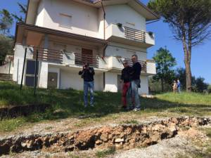 Una delle 73 frane censite in Valcona