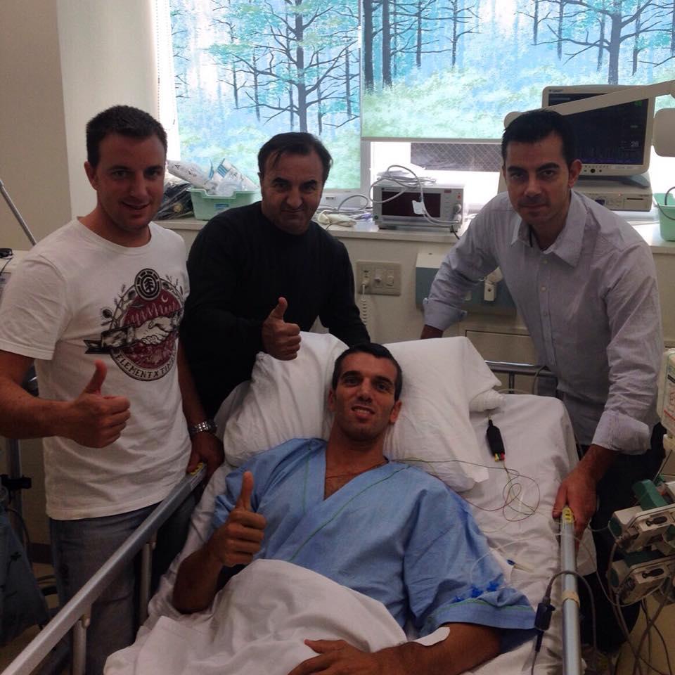 Alex De Angelis dopo l'incidente