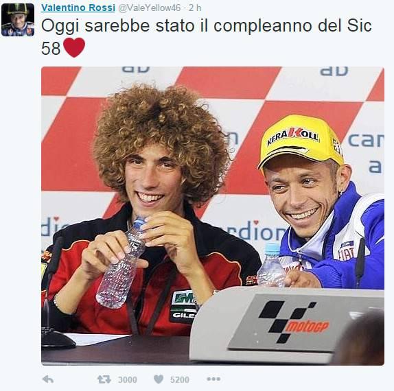 Valentino Rossi ricorda con un tweet