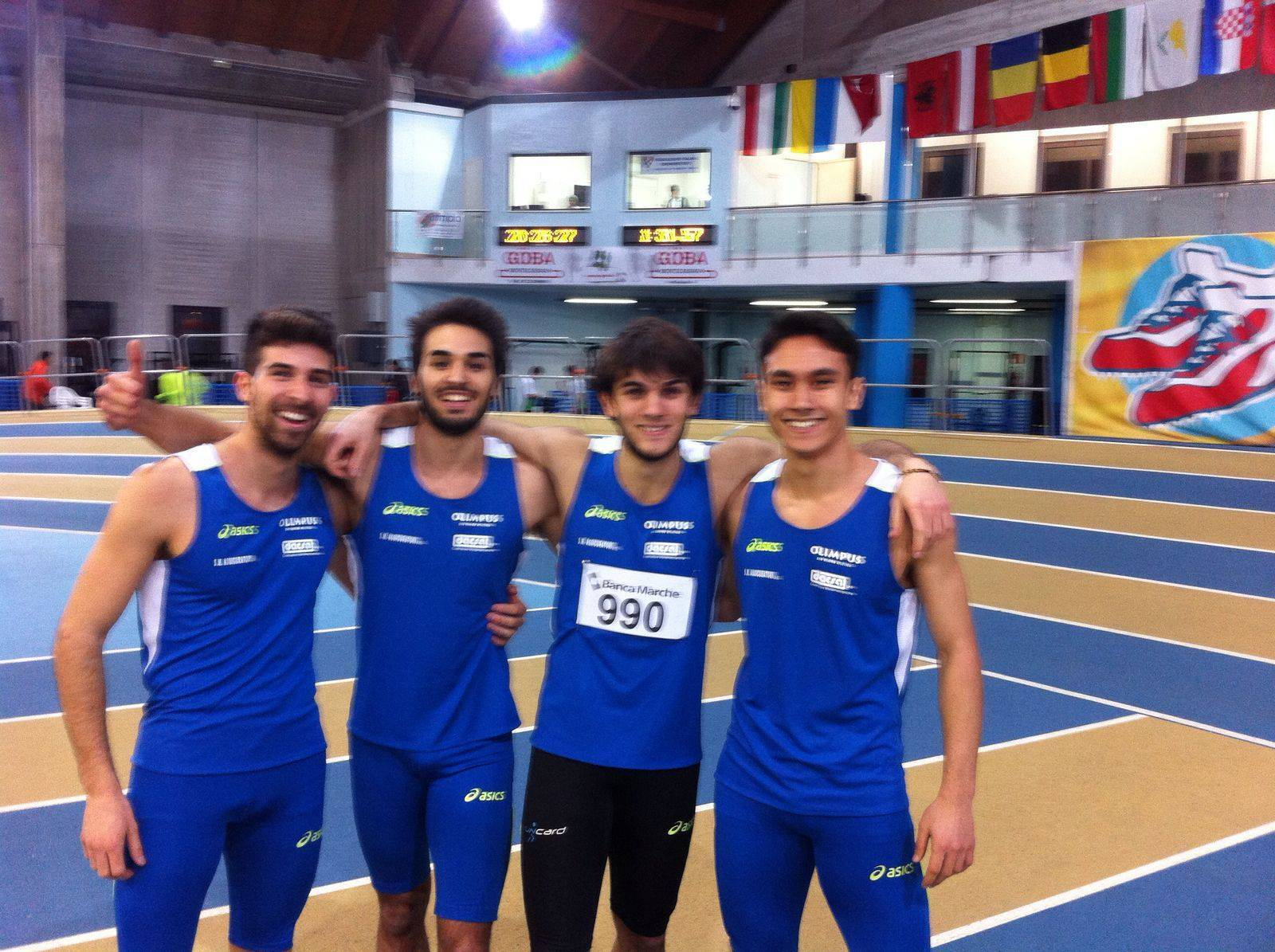 La Staffetta 4x200 dell'Olimpus San Marino Atletica in evidenza ai Campionati Italiani Assoluti Indoor