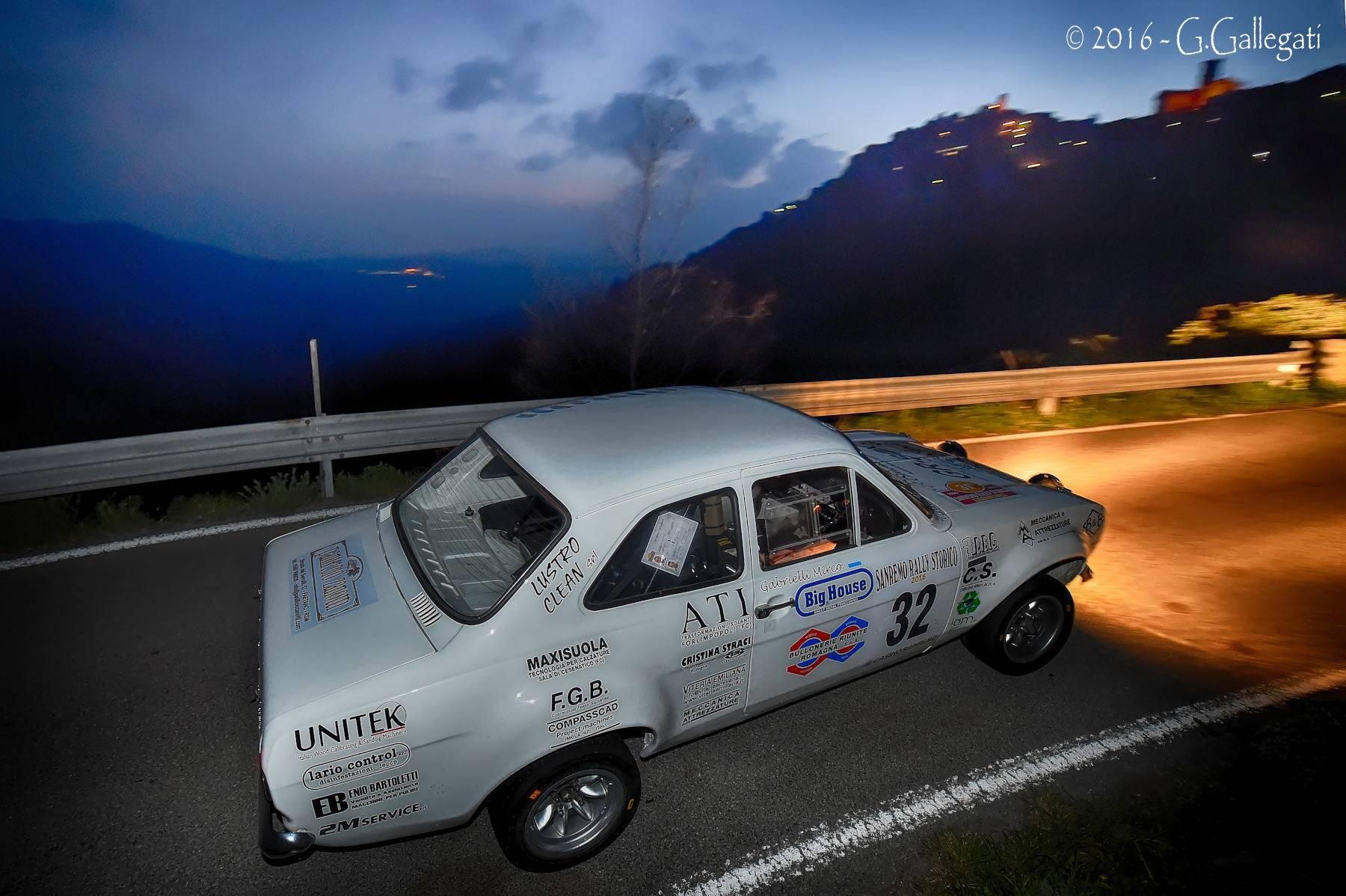 Davide Cesarini e Mirco Gabrielli in azione al Sanremo Historic Rally