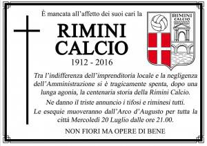 Il manifesto funebre della Rimini Calcio