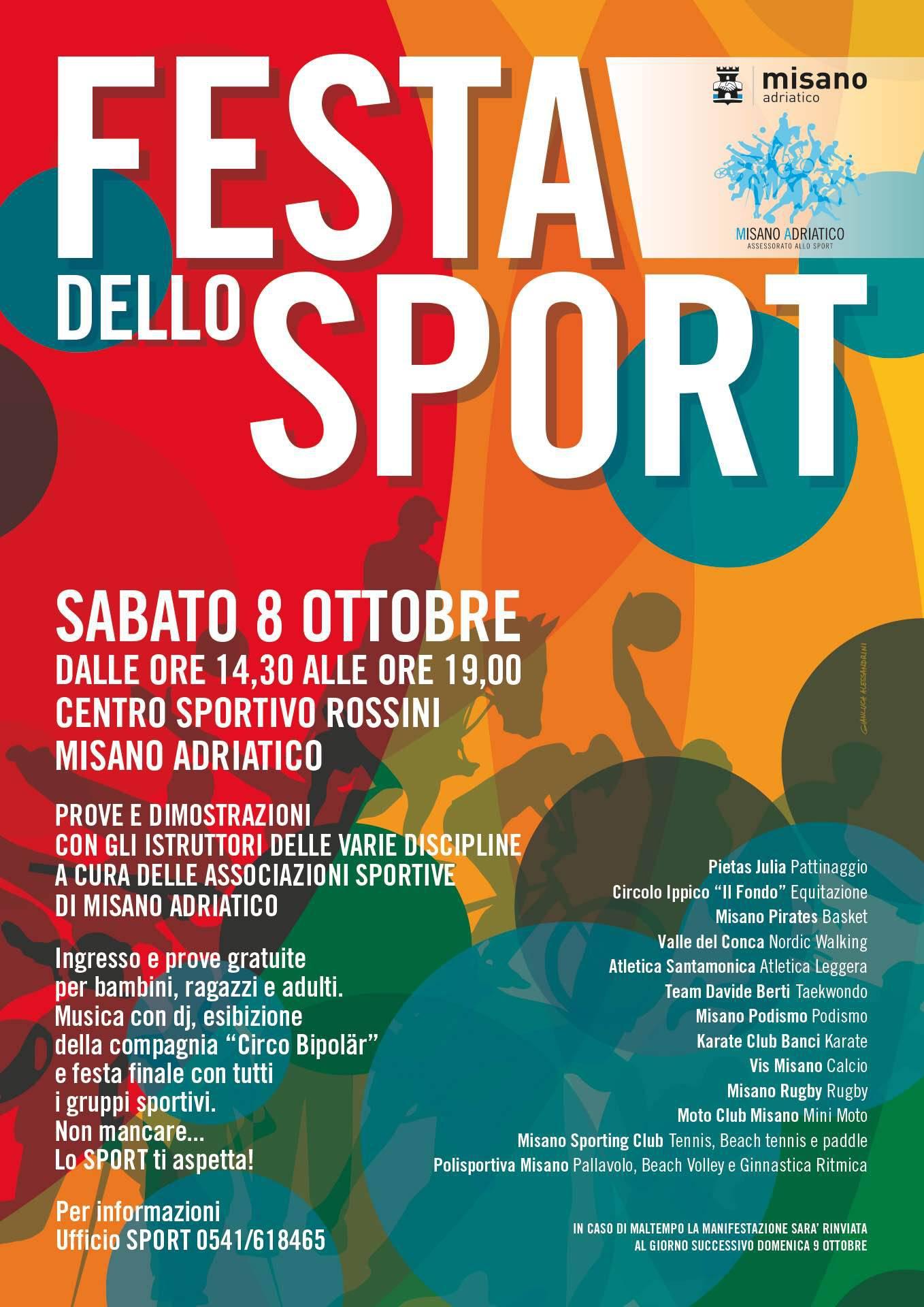 Ritorna sabato 8 ottobre a Misano la Festa dello Sport