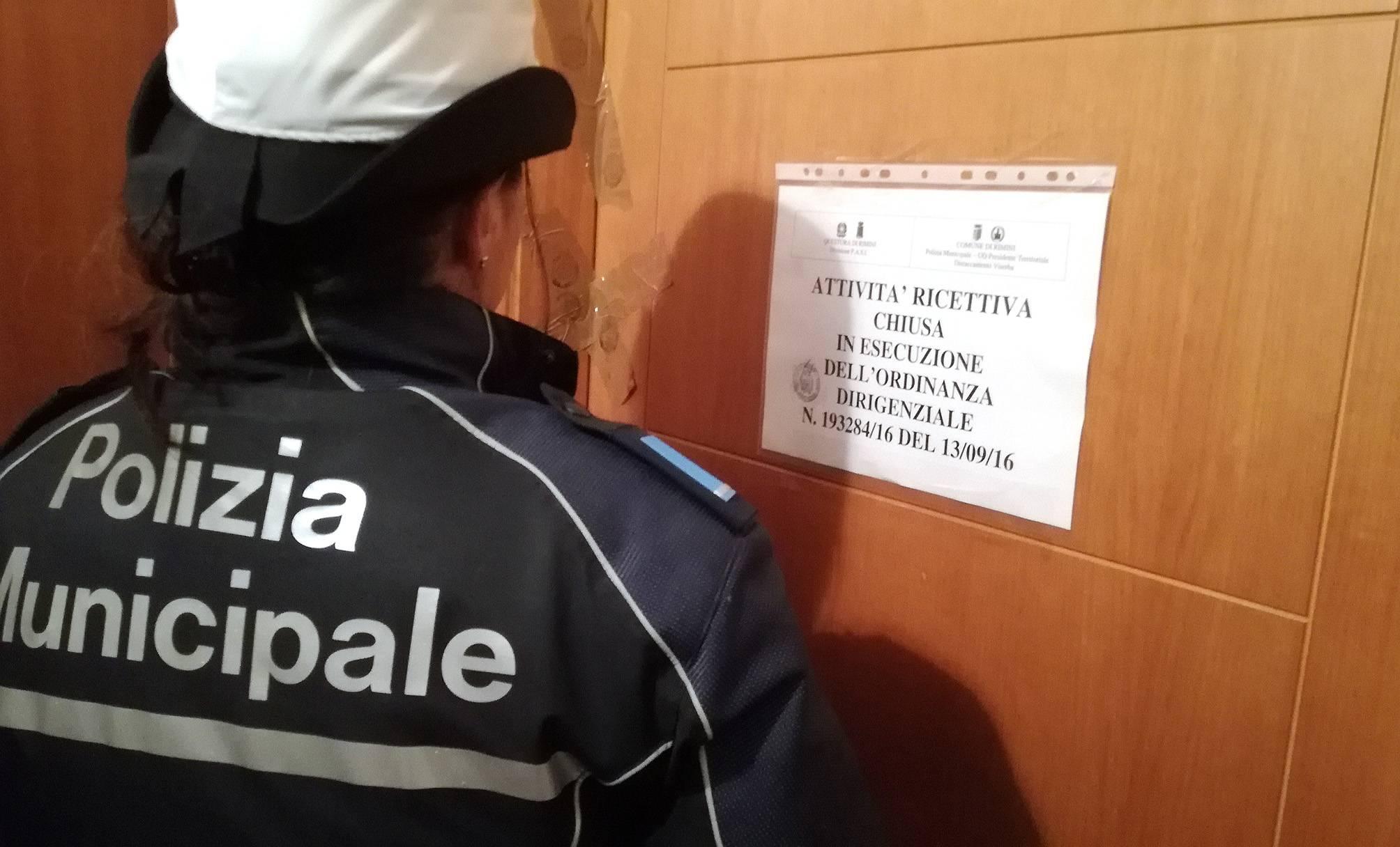 Prostituzione. La Polizia Municipale chiude un residence a Viserba
