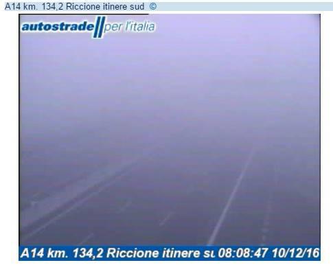Ancora nebbia in Romagna. Visibilità ridotta in A14