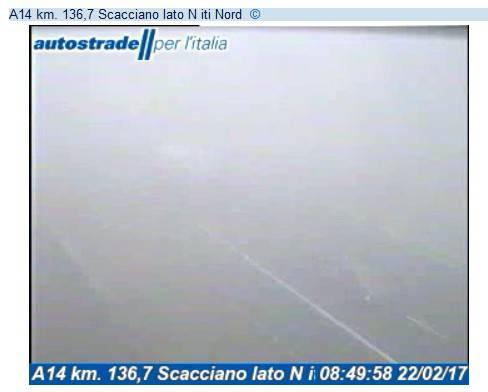 Nebbia in A14: visibilità ridotta