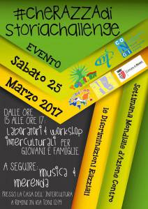 Volantino cheRAZZAdistoria EVENTO 25 marzo Rimini