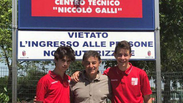 Manfroni e Montebelli insieme al responsabile del settore giovanile del Rimini FC, Valter Berlini