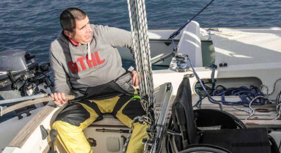 Marco Rossato a Rimini per la vela per tutto e il mare senza plastica