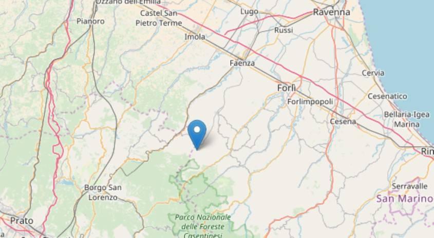 Scossa di 3.6 nel forlivese con epicentro a Tredozio
