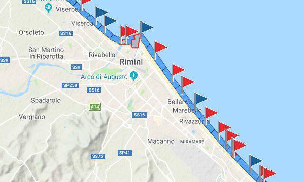 Le piogge fanno scattare i divieti di balneazione a Rimini e Riccione
