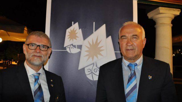 il Governatore del Distretto 2072 arch. Paolo Bolzani ed il Presidente del Rotary Club Riccione Cattolica per l'annata 2018-2019 Ing. Cenerini Gabriele