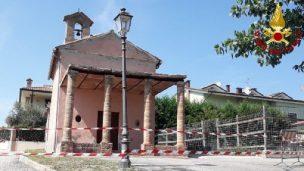 Crollo parziale alla chiesa di San Marco, intervengono i Vigili del Fuoco